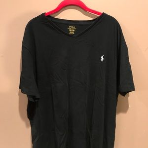 Black V-neck Polo Tee